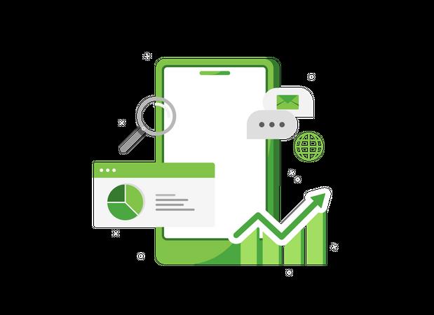 Phone with sales analytics Illustration