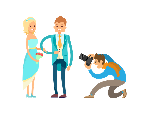 Photographer doing photography in Engagement Ceremony Illustration