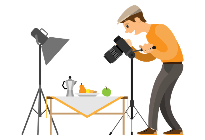 Photographer doing product photography Illustration