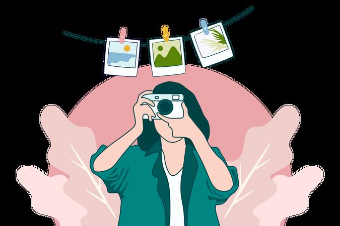 Photographer Girl With Camera Flat Design Illustration