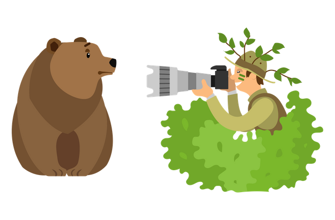 Photographer Hiding in Bushes Taking Photo of Bear Illustration