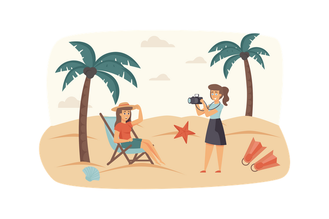 Photographer makes photo shooting with woman at tropical beach Illustration