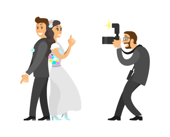 Photographer Taking Photo of Newlywedded couple Illustration
