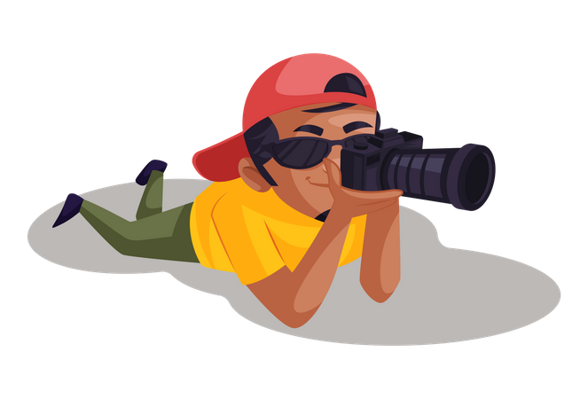 Photographer taking photo while laying down Illustration