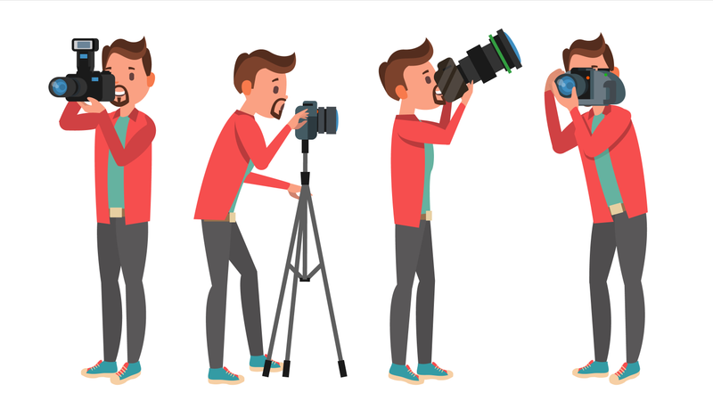 Photographer Taking Photo With Different Pose Illustration