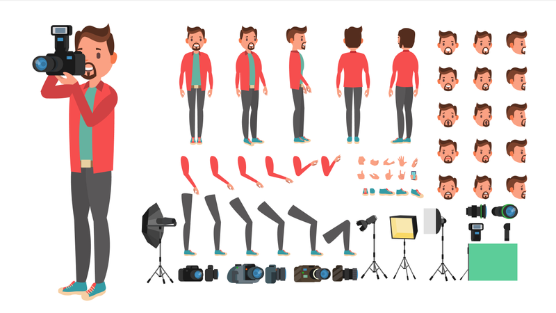Photographer Taking Photo With Different Pose Used In Animation Illustration