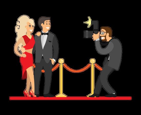 Photographer taking Photos of Popular Movie Stars Illustration
