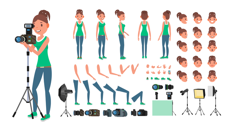 Photographer Woman Vector Which Used In Animation Illustration
