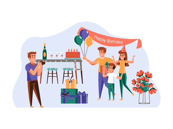 Photography at birthday party Illustration