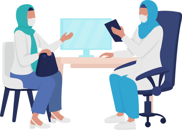 Physician and patient interaction Illustration