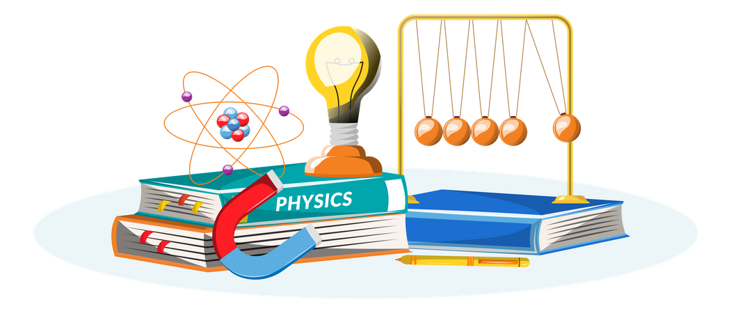 Physics book and equipment Illustration