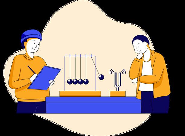 Physics concept with pendulum Illustration