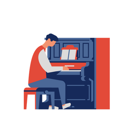 Piano player playing old upright piano Illustration