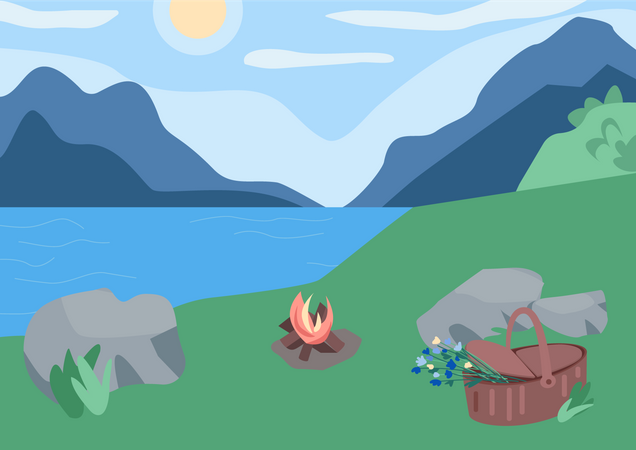 Picnic in mountains Illustration