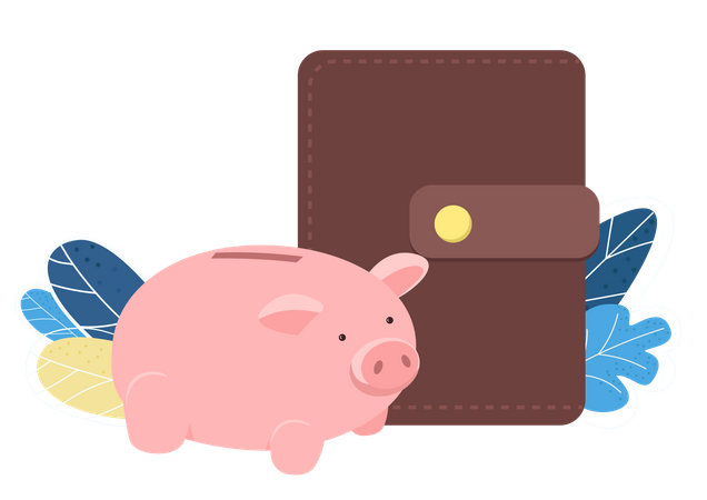 Piggy Bank And Wallet Illustration