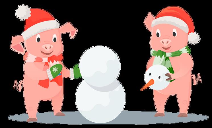 Piglets making a snowman together Illustration