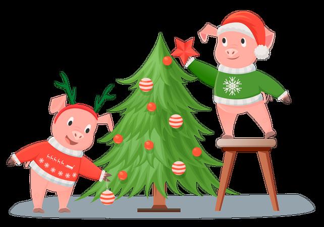 Pigs decorating Christmas tree Illustration