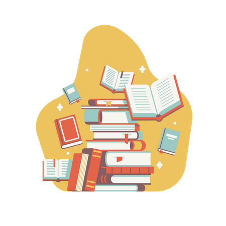 Pile of Library Books Illustration