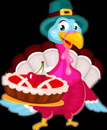 Pilgrims turkey with cherry pie Illustration