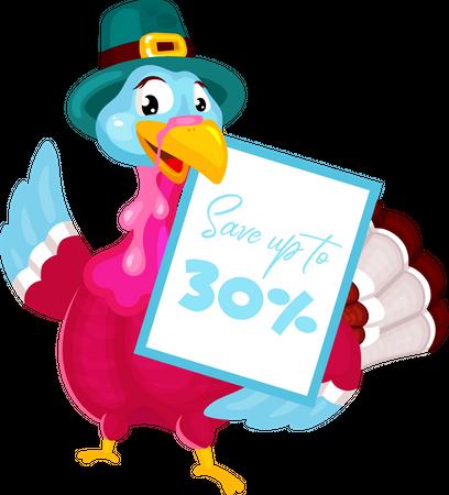 Pilgrims turkey with discount Illustration
