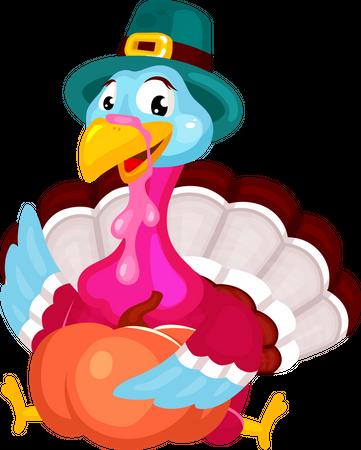 Pilgrims turkey with pumpkin Illustration