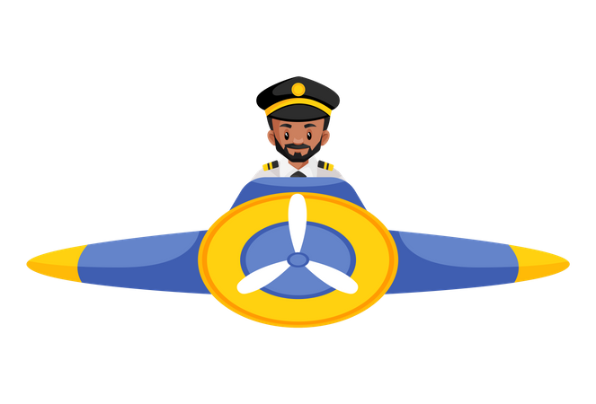 Pilot flying a plane Illustration