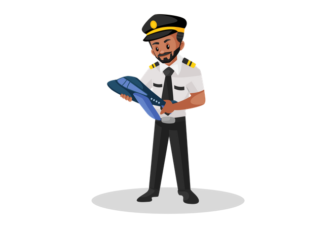 Pilot holding small plane in hands Illustration