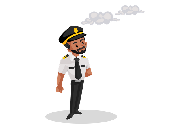 Pilot standing and looking at the clouds in the sky Illustration