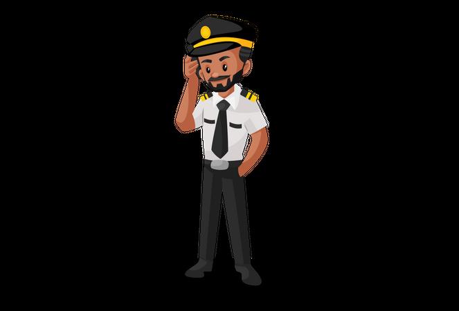 Pilot talking on the phone Illustration