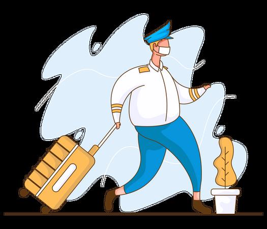Pilot walking with suitcase Illustration