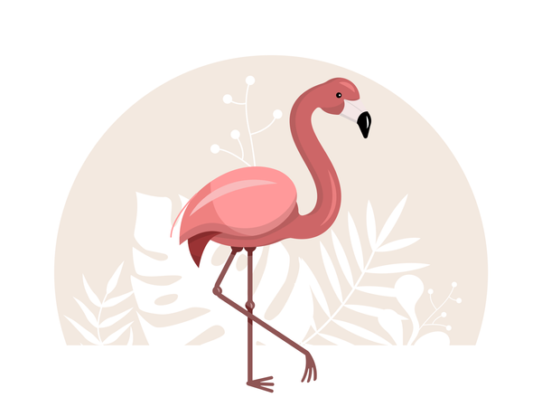 Pink flamingo with tropical leaves on a white background Illustration