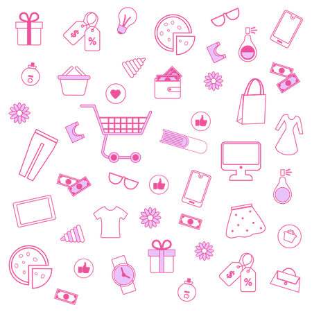 Pink Men and Women Accessories on White Background Illustration