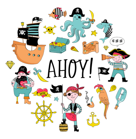 Pirate Collection Of Hand Drawn Characters Illustration