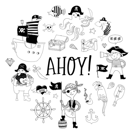 Pirate collection of hand drawn characters and icons Illustration