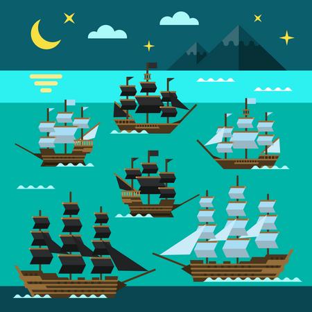 Pirate Ships Illustration