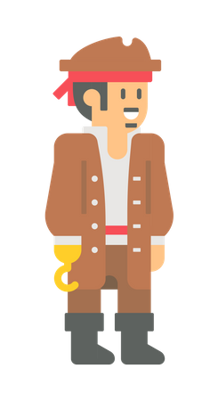 Pirate with golden hand hook Illustration
