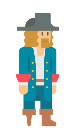 Pirate with wooden leg Illustration