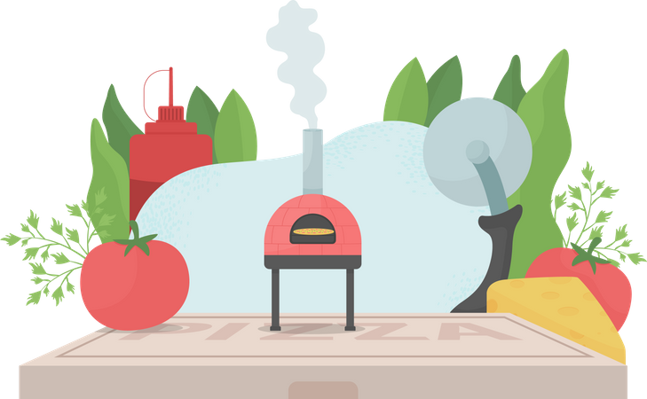 Pizza cooking Illustration