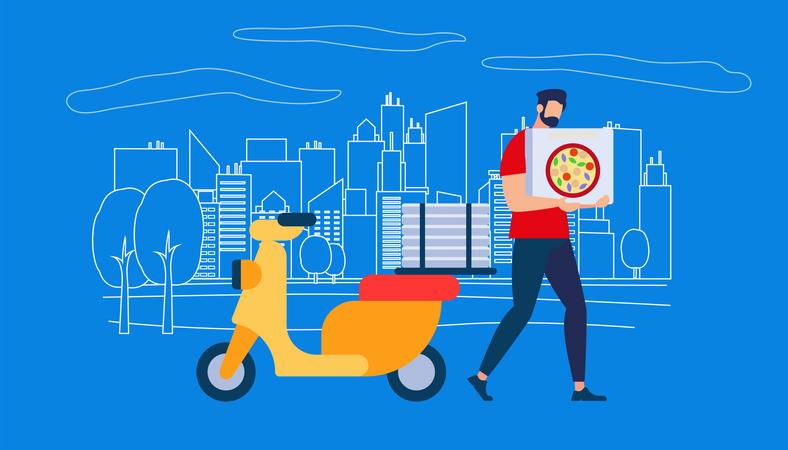 Pizza delivery boy Illustration