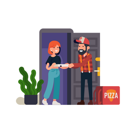 Pizza delivery man handing out a box of pizza to a customer standing in front door Illustration