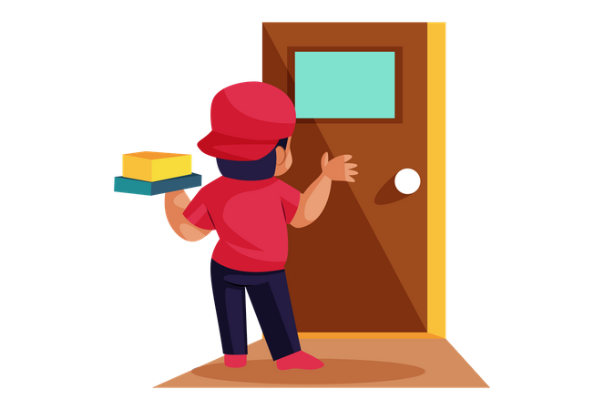 Pizza Delivery Man on door Illustration