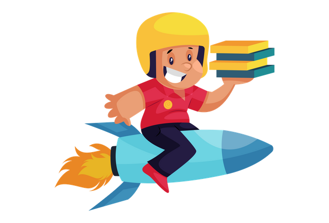 Pizza Delivery Man on rocket with pizza Illustration