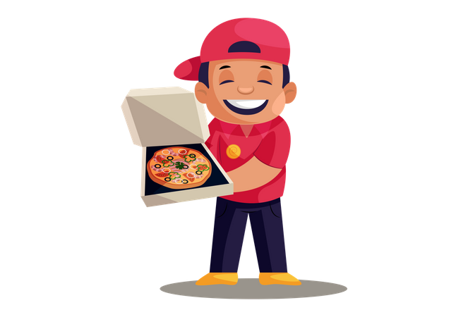 Pizza Delivery Man showing pizza in box Illustration
