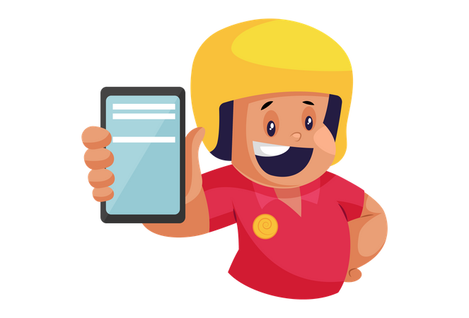 Pizza Delivery Man showing smartphone for rating Illustration