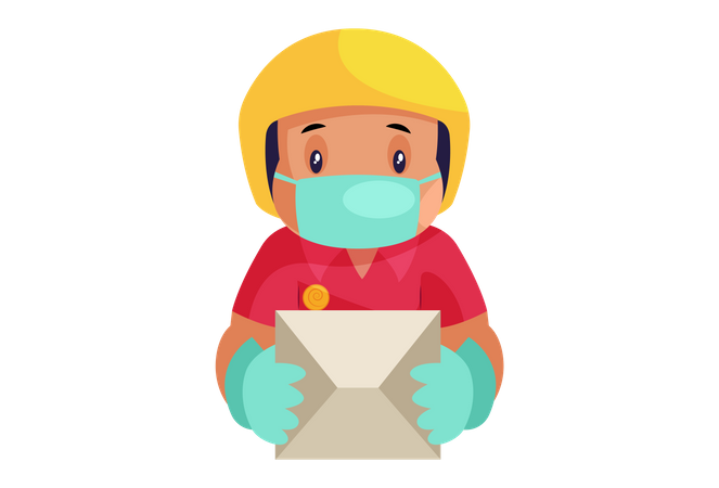 Pizza Delivery Man wearing face mask and hand gloves while delivery Illustration