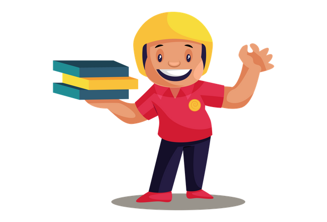 Pizza Delivery Man with pizza boxes Illustration