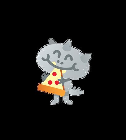 Pizza eating cat Monster Illustration