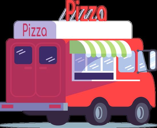 Pizza food truck Illustration