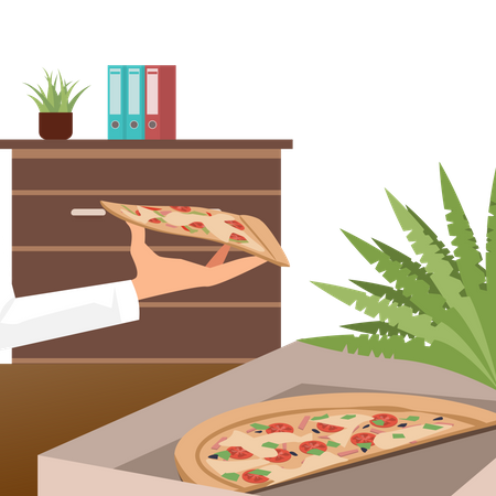 Pizza in Delivery Box at Office Workplace Illustration