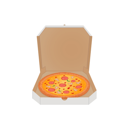 Pizza in the box vector illustration on white background Illustration